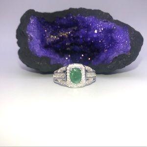Jewelry - Silver Halo Cut Emerald Ring